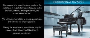 The Miller Piano Specialists Institutional Division Mission