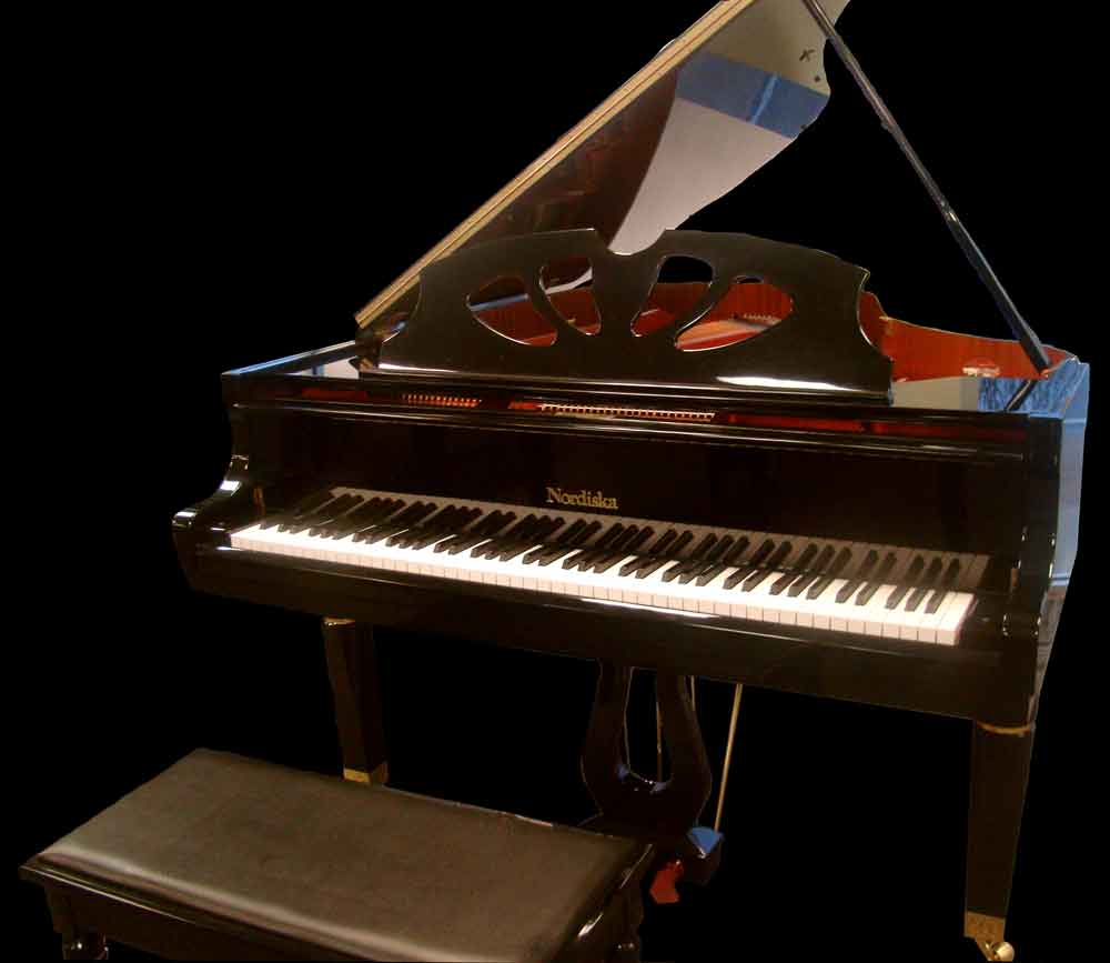 Nordiska Grand Piano, black with red interior soundboard