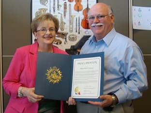 Ross and Sylvia Miller with the proclomation stamped by the Metropolitan Government of Nashville