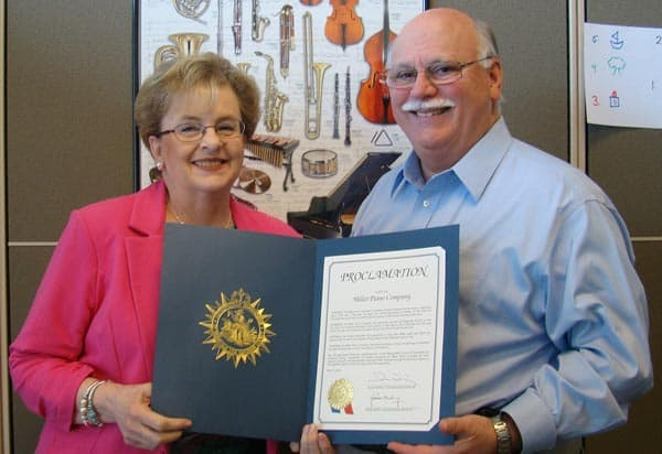 Ross and Sylvia Miller with the proclamation stamped by the Metropolitan Government of Nashville