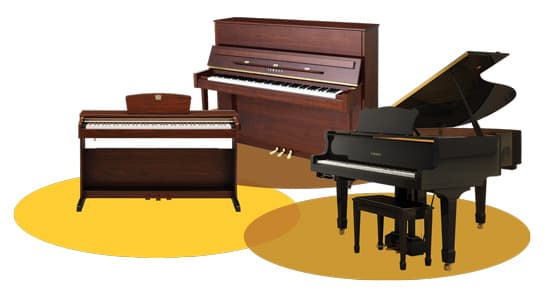 Collage of an upright, a Clavinova, and a grand piano