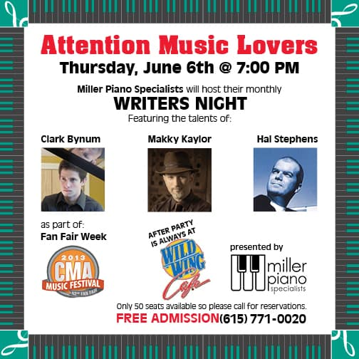 Line-up for 2013 June Writers Night Flyer