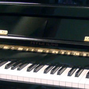 polished ebony Hyundai upright piano teaser image
