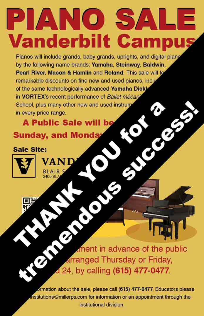 Poster of Piano Sale on Vanderbilt's Campus