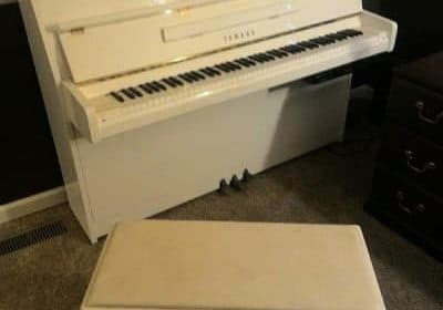 White Yamaha Console Piano – CLEARANCE PRICE!