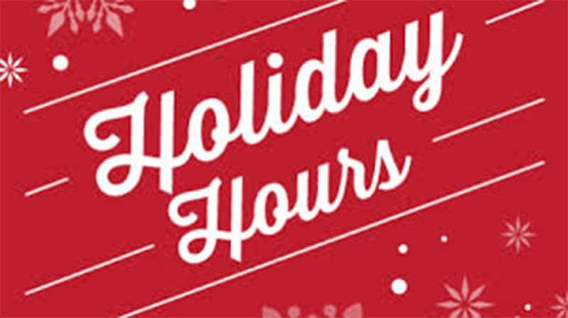 Holiday Hours for Miller Piano Specialists