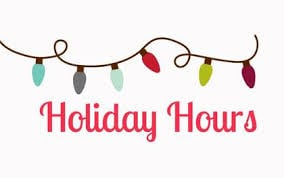 New Holiday Hours 2019