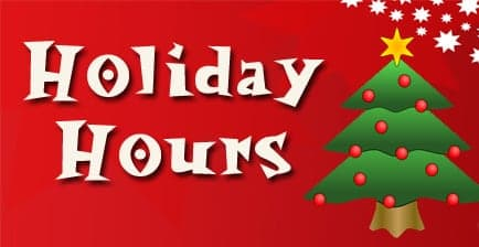 Holiday Hours starting November 27-December 31, 2020